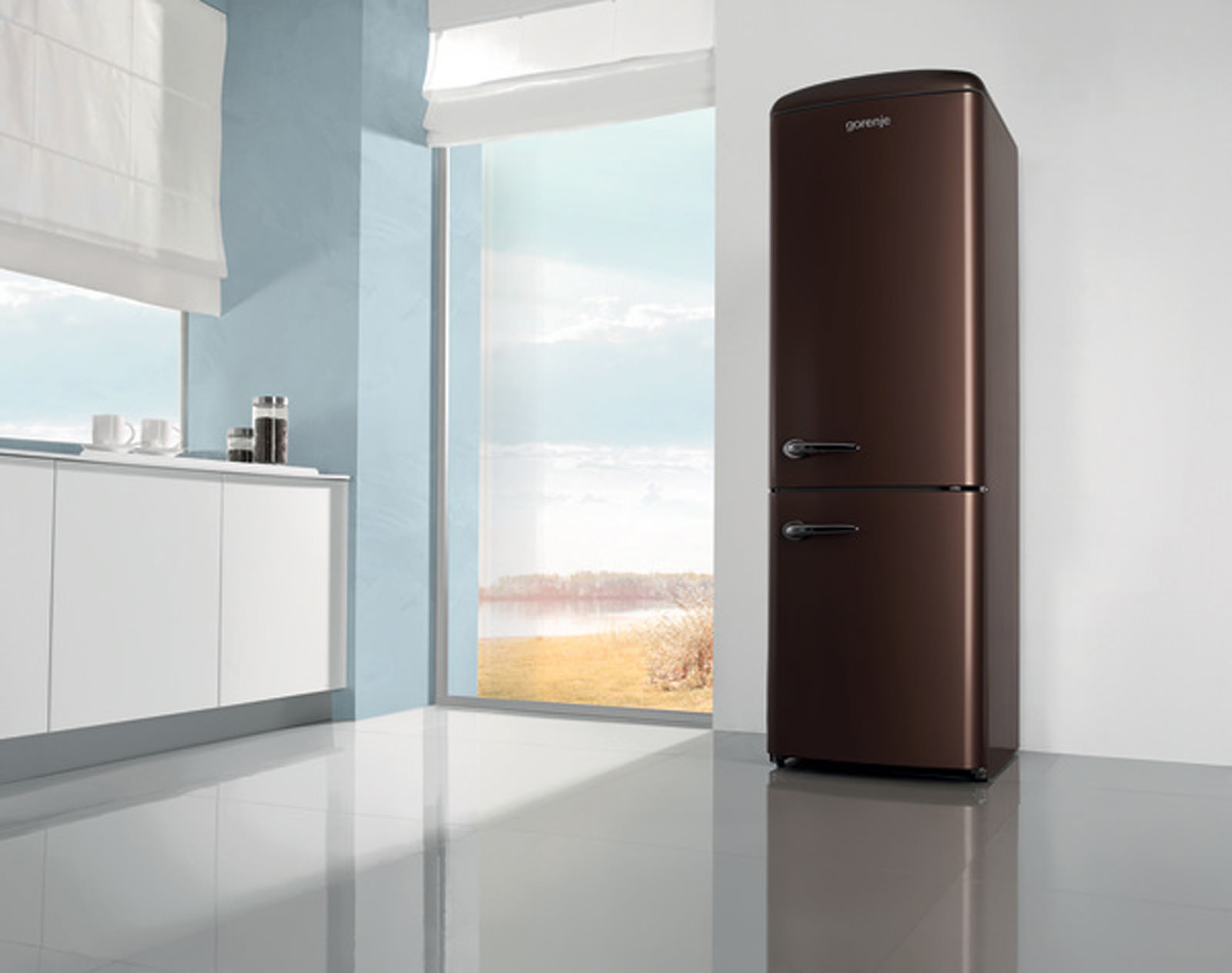 gorenje k hl gefrier kombi fs14 fridge retro dark chocolate bewusst haushalten. Black Bedroom Furniture Sets. Home Design Ideas