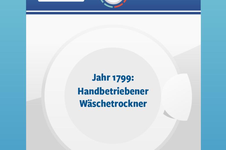 Jahr 1799: Handbetriebener Wäschetrockner Illustration/Wortlaut